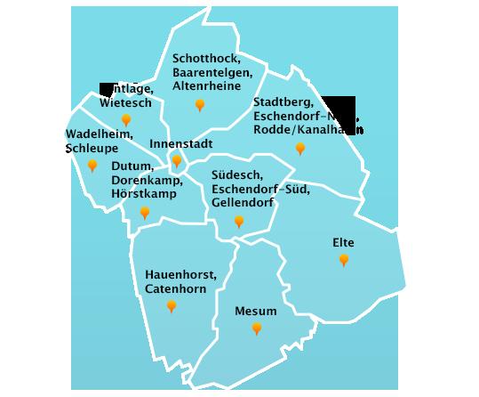 Stadtteile Winterdienst Schnee- Eisbeseitigung Rheine
